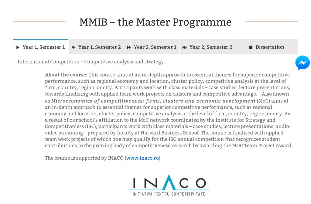 INACO helped shape the International Competitive Strategy and Analysis course from the best MA in International Business and Management in Romania
