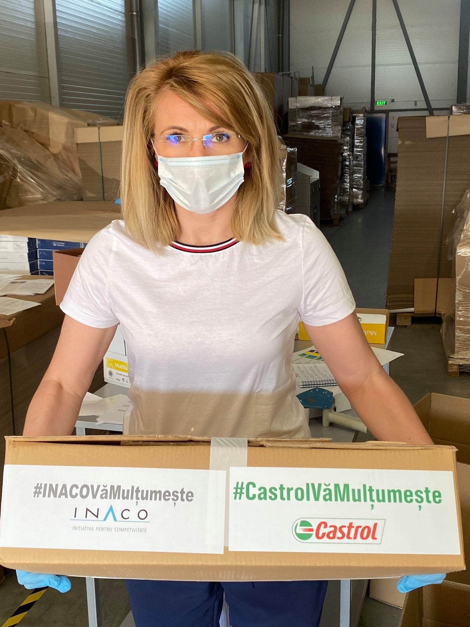 22 de spitale beneficiare de echipamente de protecție din toată țara într-o campanie amplă de donații organizată de INACO, finanțată de CASTROL și distribuite în siguranță de către DHL