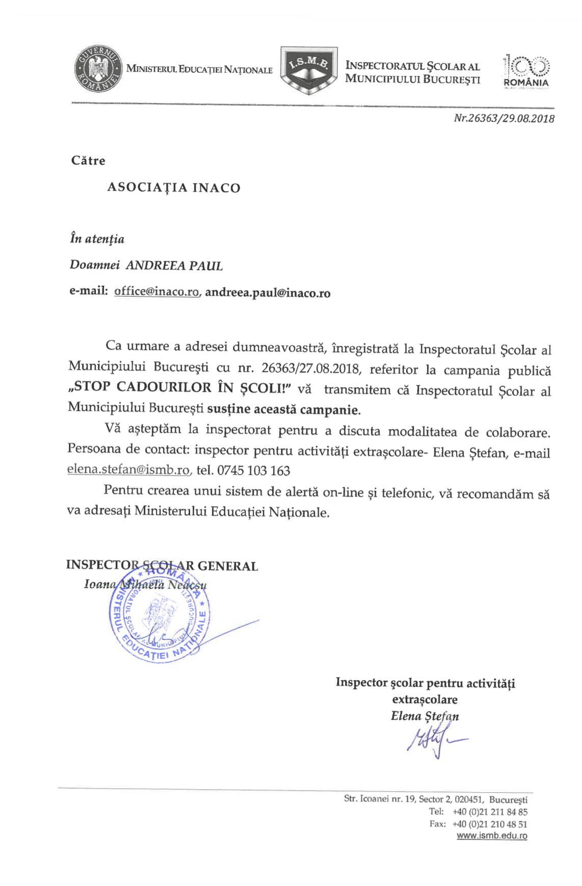 Inspectoratul Școlar al Municipiului București susține oficial campania lansată de organizația neguvernamentală INACO: STOP CADOURILOR ÎN ȘCOALĂ!